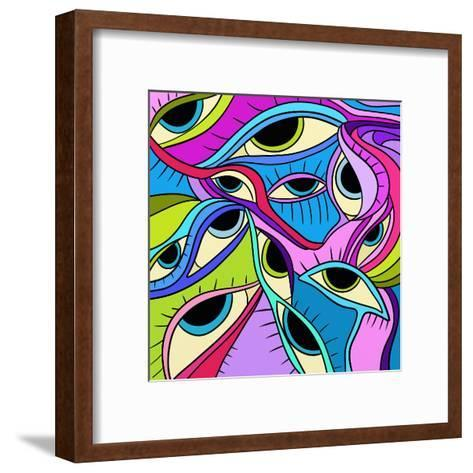 Abstract Eyes-goccedicolore-Framed Art Print