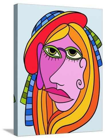 Abstract Design with Face of Woman-goccedicolore-Stretched Canvas Print