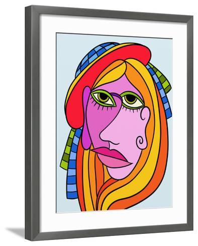 Abstract Design with Face of Woman-goccedicolore-Framed Art Print