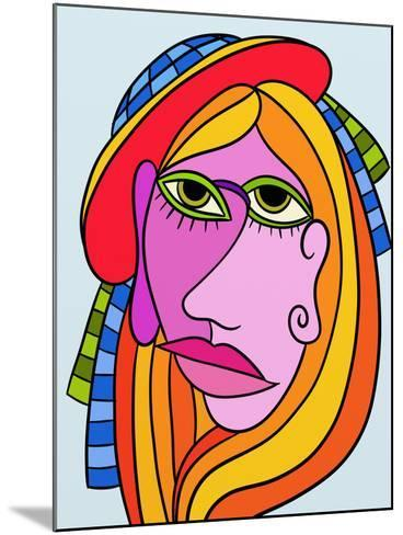 Abstract Design with Face of Woman-goccedicolore-Mounted Art Print