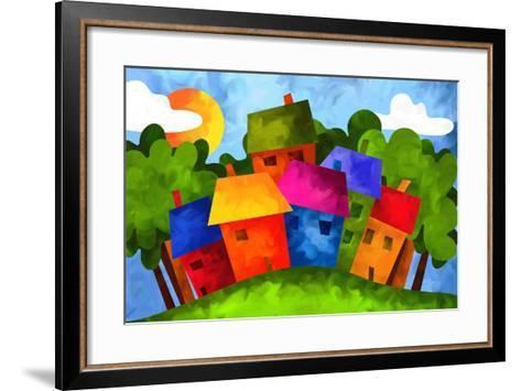 Paesino in Campagna-goccedicolore-Framed Art Print