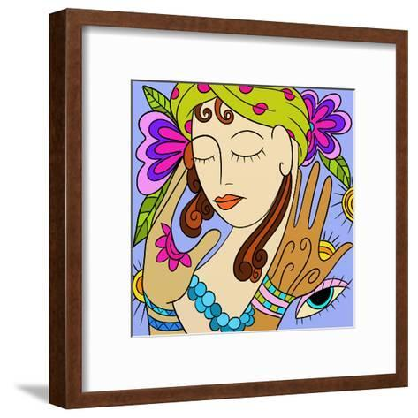 Abstract with Woman's Face-goccedicolore-Framed Art Print