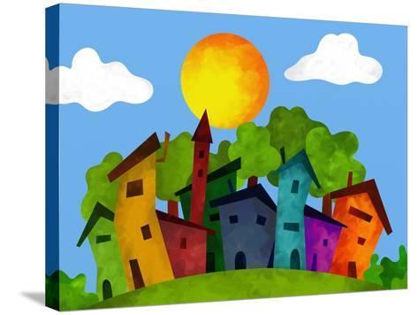 Villaggio in Estate-goccedicolore-Stretched Canvas Print