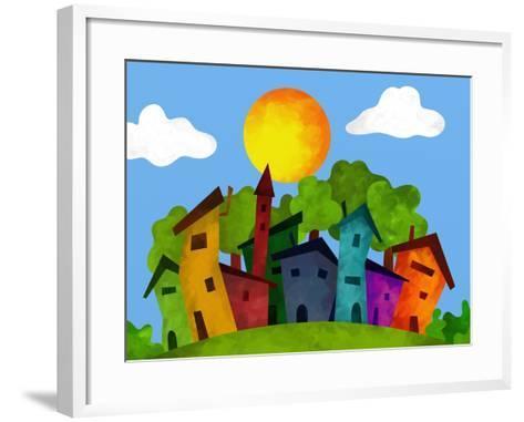 Villaggio in Estate-goccedicolore-Framed Art Print