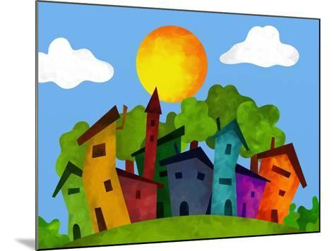 Villaggio in Estate-goccedicolore-Mounted Art Print