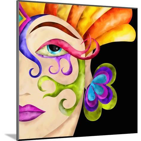 Face of Woman with Carnival Mask-goccedicolore-Mounted Art Print