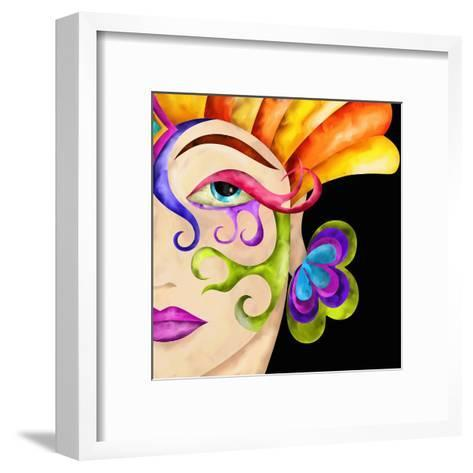 Face of Woman with Carnival Mask-goccedicolore-Framed Art Print