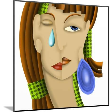 Viso Di Donna Astratto-goccedicolore-Mounted Art Print