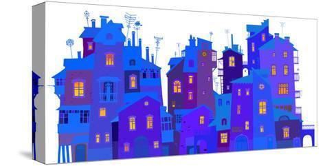 Winter Urban Facades-polinina-Stretched Canvas Print