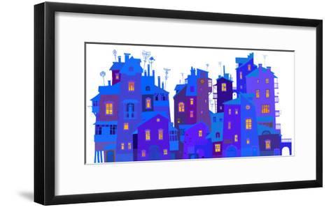 Winter Urban Facades-polinina-Framed Art Print