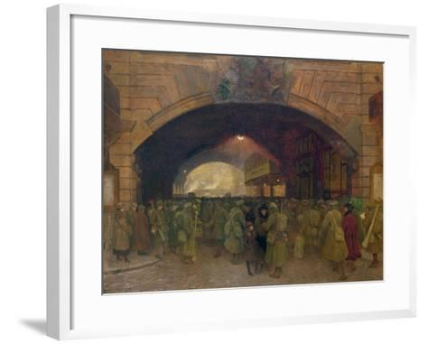 Victoria Station, Troops Leaving for the Front-Walter Bayes-Framed Art Print