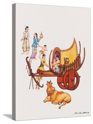 Family with their Ox-Cart, 1993-Yoe Yar Maung-Stretched Canvas Print