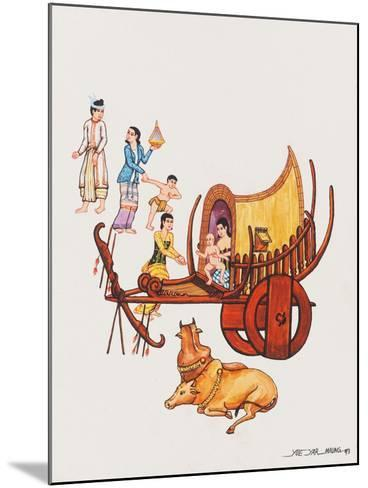 Family with their Ox-Cart, 1993-Yoe Yar Maung-Mounted Giclee Print