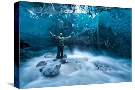 Self Portrait under a Glacier-Jonathan Tucker-Stretched Canvas Print