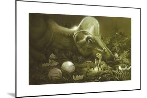 Hypacrosaurus Protecting its Nest and Newborn Hatchlings-Stocktrek Images-Mounted Art Print