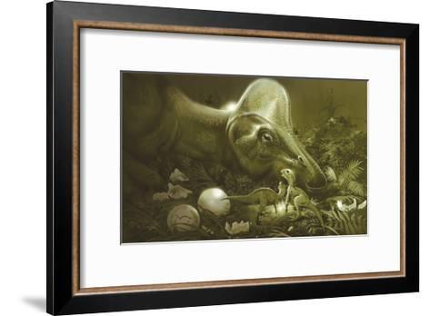 Hypacrosaurus Protecting its Nest and Newborn Hatchlings-Stocktrek Images-Framed Art Print