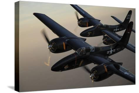 F7F Tigercats Flying over San Antonio, Texas-Stocktrek Images-Stretched Canvas Print