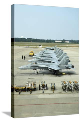 Line-Up of FA-18 Hornets on the Ramp at Naval Air Station Oceana, Virginia-Stocktrek Images-Stretched Canvas Print