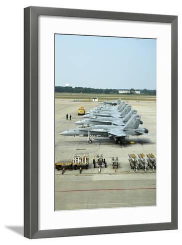 Line-Up of FA-18 Hornets on the Ramp at Naval Air Station Oceana, Virginia-Stocktrek Images-Framed Art Print