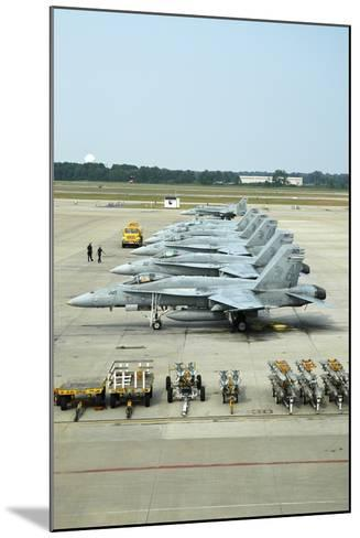 Line-Up of FA-18 Hornets on the Ramp at Naval Air Station Oceana, Virginia-Stocktrek Images-Mounted Photographic Print