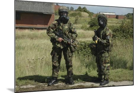 Two British Soldiers in Full NBC Protection Gear-Stocktrek Images-Mounted Photographic Print