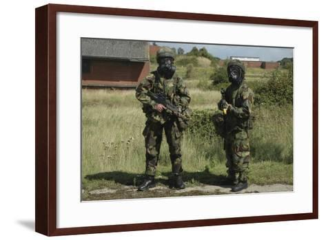 Two British Soldiers in Full NBC Protection Gear-Stocktrek Images-Framed Art Print