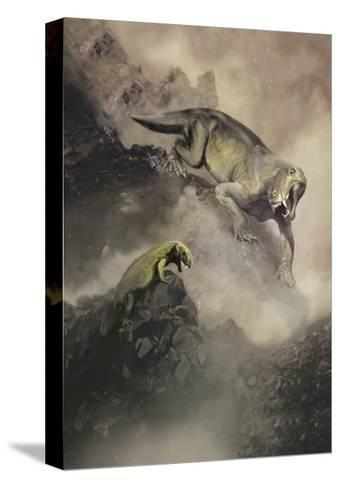 Lycaenops Dinosaur from the Permian Period of Africa Encounters a Surprise-Stocktrek Images-Stretched Canvas Print