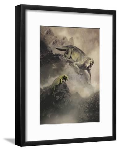 Lycaenops Dinosaur from the Permian Period of Africa Encounters a Surprise-Stocktrek Images-Framed Art Print