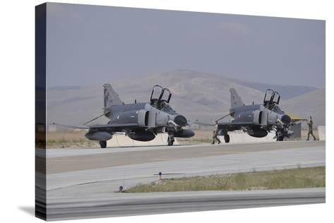 Two Turkish Air Force F-4E 2020 Terminator Aircraft Standby with Crew Chiefs-Stocktrek Images-Stretched Canvas Print
