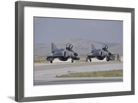 Two Turkish Air Force F-4E 2020 Terminator Aircraft Standby with Crew Chiefs-Stocktrek Images-Framed Art Print