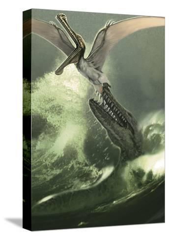 Kronosaurus Jumping Out of the Water to Attack a Low Flying Criorhynchus-Stocktrek Images-Stretched Canvas Print