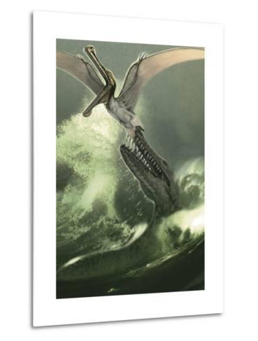 Kronosaurus Jumping Out of the Water to Attack a Low Flying Criorhynchus-Stocktrek Images-Metal Print