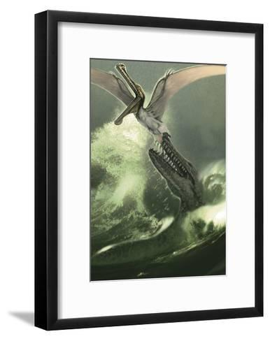 Kronosaurus Jumping Out of the Water to Attack a Low Flying Criorhynchus-Stocktrek Images-Framed Art Print