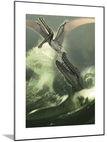 Kronosaurus Jumping Out of the Water to Attack a Low Flying Criorhynchus-Stocktrek Images-Mounted Art Print