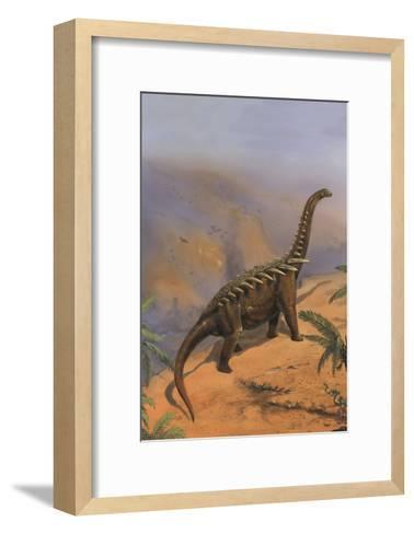 Agustinia Dinosaur Walking Along the Edge of a Cliff-Stocktrek Images-Framed Art Print