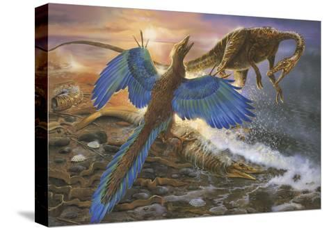 Archaeopteryx Defending its Prey from an Intruding Compsognathus-Stocktrek Images-Stretched Canvas Print