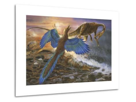 Archaeopteryx Defending its Prey from an Intruding Compsognathus-Stocktrek Images-Metal Print