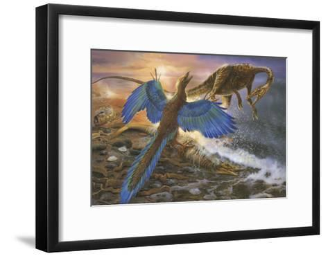 Archaeopteryx Defending its Prey from an Intruding Compsognathus-Stocktrek Images-Framed Art Print