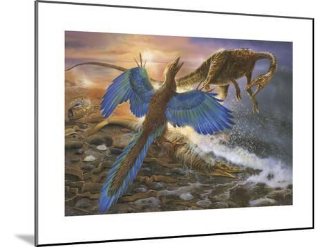 Archaeopteryx Defending its Prey from an Intruding Compsognathus-Stocktrek Images-Mounted Art Print