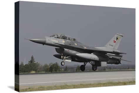 A Turkish Air Force F-16D Landing on the Runway at Konya Air Base-Stocktrek Images-Stretched Canvas Print