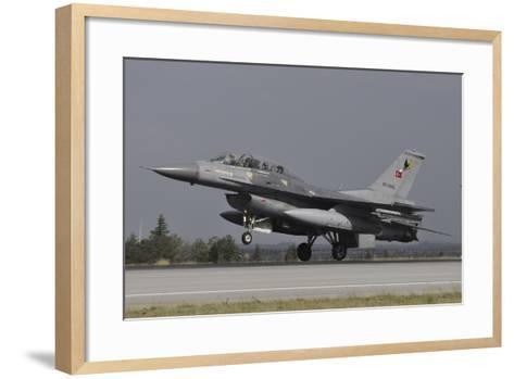 A Turkish Air Force F-16D Landing on the Runway at Konya Air Base-Stocktrek Images-Framed Art Print