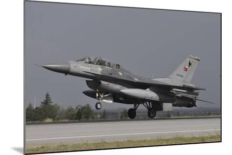 A Turkish Air Force F-16D Landing on the Runway at Konya Air Base-Stocktrek Images-Mounted Photographic Print