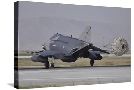 A Turkish Air Force F-4E 2020 Terminator Deploys its Drag Chute Upon Landing-Stocktrek Images-Stretched Canvas Print