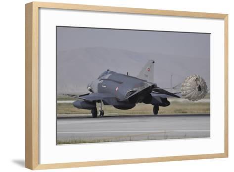 A Turkish Air Force F-4E 2020 Terminator Deploys its Drag Chute Upon Landing-Stocktrek Images-Framed Art Print