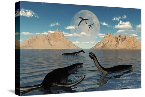 A Group of Plesiosaurs Relaxing on a Jurassic Day-Stocktrek Images-Stretched Canvas Print