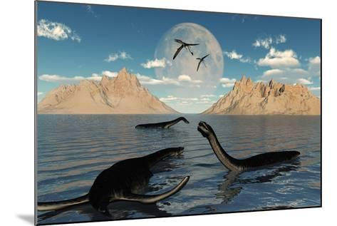 A Group of Plesiosaurs Relaxing on a Jurassic Day-Stocktrek Images-Mounted Art Print