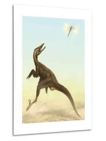A Small Predatory Sinornithosaurus Jumps at a Dragonfly Flying Above-Stocktrek Images-Metal Print