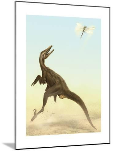 A Small Predatory Sinornithosaurus Jumps at a Dragonfly Flying Above-Stocktrek Images-Mounted Art Print