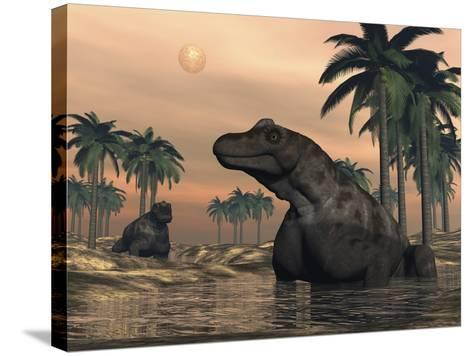 Keratocephalus Dinosaurs in a Small Lake at Sunset-Stocktrek Images-Stretched Canvas Print