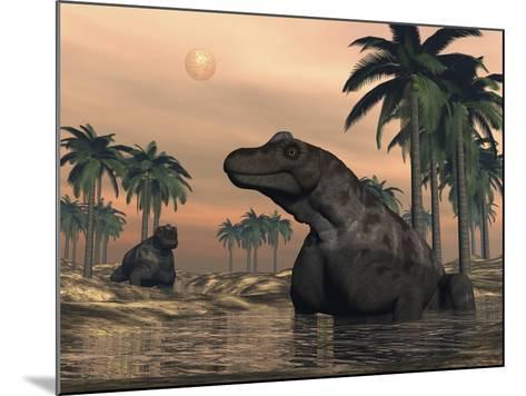 Keratocephalus Dinosaurs in a Small Lake at Sunset-Stocktrek Images-Mounted Art Print